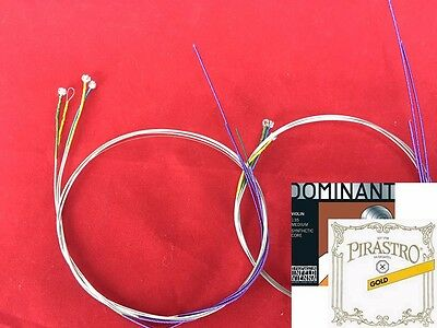 Genuine Dominant Violin String set with Gold label E Ball End 4/4 size