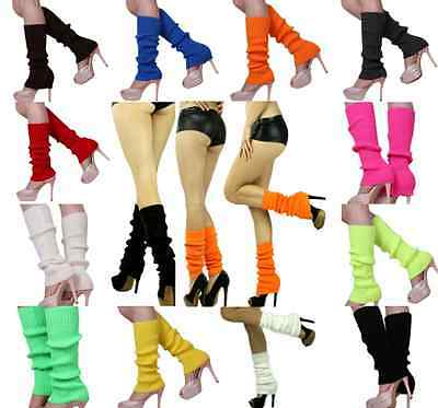 Pair of LEG WARMERS Knitted Womens Costume Neon Dance Party Knit 80s Legwarmers