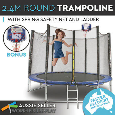 2.4m 8ft Round Trampoline w/ Safety Net Cover Spring Pad Ladder Free Basketball