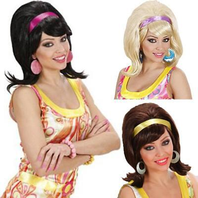 60s Mod Wig Ladies Fancy Dress Party Pin Up Beach Babe Brown Blonde Black 1S