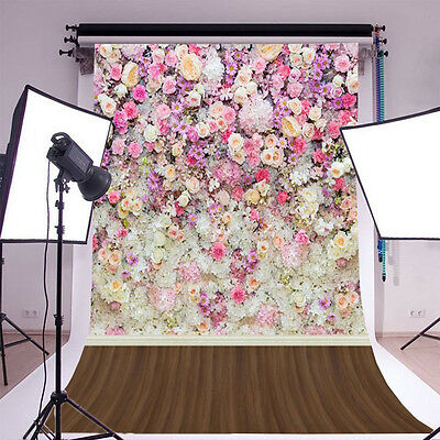5x7ft Vinyl Photography Backdrops Flowers Wooden Floor Baby Photo Backgrounds