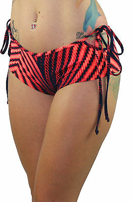 Red/Navy Print Tie Side Booty Pole Dancing/Dance Shorts Hotpants by Juicee Peach