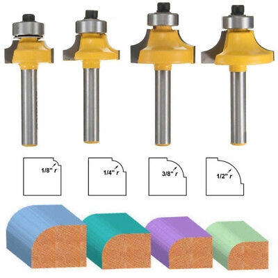 "4Pcs 1/4"" Shank Round Over Beading Edging Router Bit Woodworking Tool Kits Set"