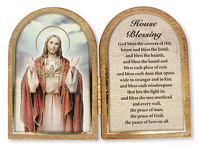 Sacred Heart Jesus House Blessing Folding Wooden Plaque Candles Statues Listed