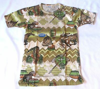 Vintage 70s T Shirt Kaynee Native American Indian Dead Stock sz 18 Youth