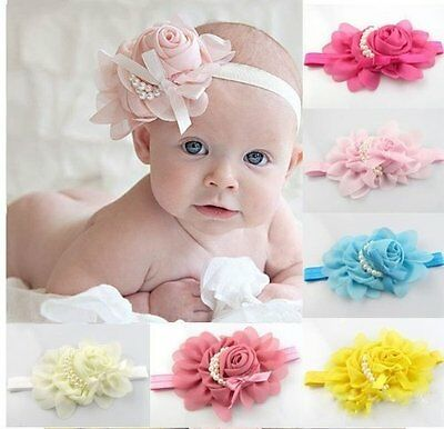 Baby Girls Headband Flower Pearl Bow Elastic Band Hairband Kids Hair Accessories
