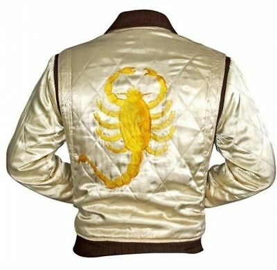 New Men's Designer Drive Scorpion Stylish Satin Fitted Ryan Gosling Movie Jacket