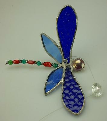 Handmade Tiffany Style Dragonfly Stained Glass Window Suncatcher Ornament MJ6