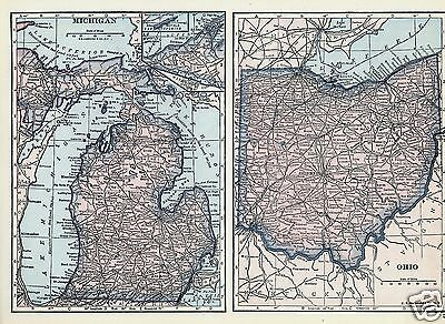 1927 Map U S States MI OH IL IN Lithograph 4 Maps by C S Hammond Color Maps