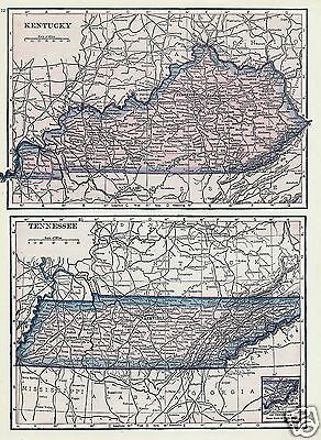 1927 Map Southern United States MS AL KY TN Lithograph 4 Maps by C S Hammond N Y