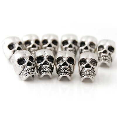 10pcs Tibetan Silver Skull Head Spacer Beads Jewelry Findings 4mm Hole