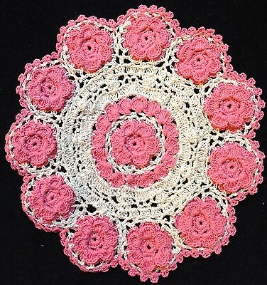 "handmade 7"" 18cm vintage crochet lace doilie doily doiley round pink"