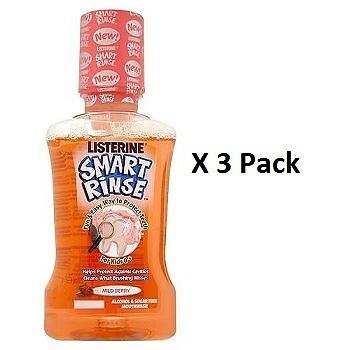 Listerine Smart Rinse For Kids 6+ Mild Berry Mouthwash 250ml x 3 Pack