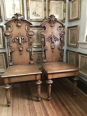Stunning Antique Gothic Cathedral Chairs Pair Of 2 Heavily Carved Church