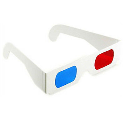 3D Glasses Red Cyan Blue Paper Cardboard Eye Anaglyph Viewers Movies 2pcs NEW