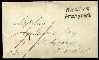 1843 'Wrentham/Penny Post' (Suffolk) Entire to Norwich