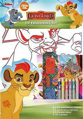 Disney The Lion Guard 3D COLOURING SET Sheets Glasses Stickers Pencil Crayons