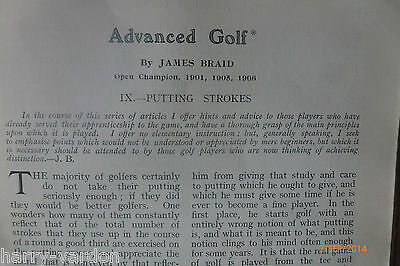 Antique Hickory Golf James Braid Putting Putter Illustrated Photo Article 1907