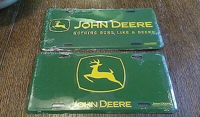 (2) John Deere Logo Green Embossed Metal License Plate Tag