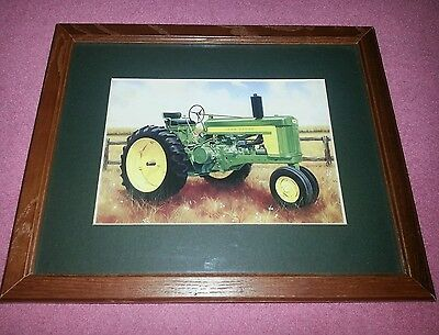 "John Deere Tractor Print Framed Country Picture  9"" X 11"""