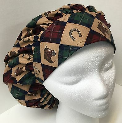 Horse Green & Red Argyle Large Bouffant OR Scrub Cap Surgery Hat