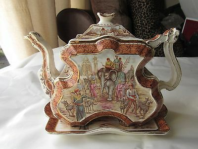Rare Poly-chrome Burgess & Leigh Burleigh Ware Victorian Aesthetic Teapot Museum