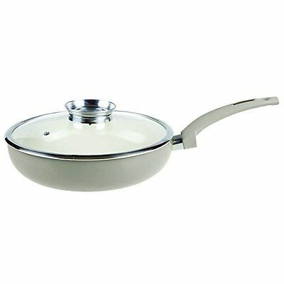Tower 28cm Heavy Duty Ceramic Coated Saute Pan IDT80028 in Taupe - NEW