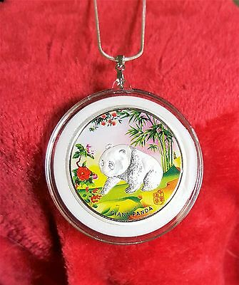 Panda Pendant, Colorized Silver Plate  Coin  39mm+Necklace & Gift Bag