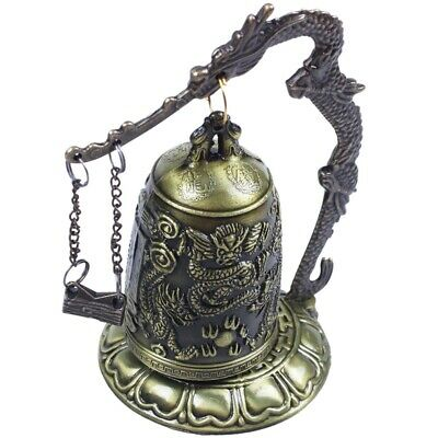 Brass Bell Carved Dragon Buddhist Buddha's Clock Bronze Good Luck Bell X1W2