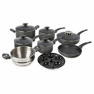 Tower IDT91021B Stone Coated Pan Set, Non-Stick Coating, 9-Piece - Black  - NEW