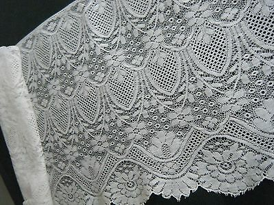 Antique French Victorian 19c Chantilly lace extra wide trim Hand Made