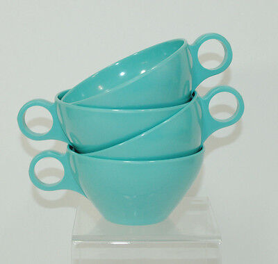 Set of 4 Turquoise Coffee Tea Cups Plastic 1960s 1970s Mid Century MCM