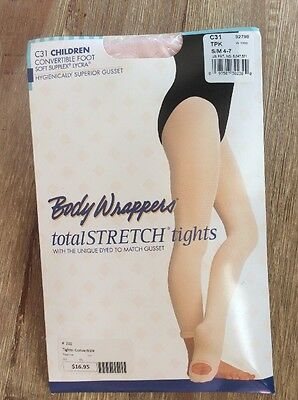 NEW Body Wrappers Total Stretch Convertible Foot Tights Pink S/M 4-7 C31 TPK