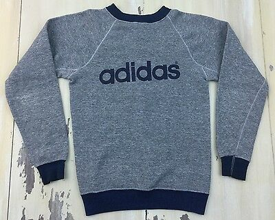 ADIDAS - True Vtg 80s Raglan Heather Gray Sweatshirt, Hip Hop RUN DMC, Med 12-14