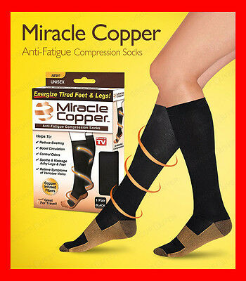 Miracle Copper As Seen on TV Copper- Infused Anti Fatigue Compression Sock BOXED