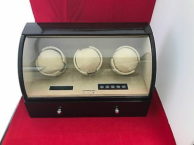 Ebony Gloss Finish Triple Watch Winder With Storage for 4 Watches