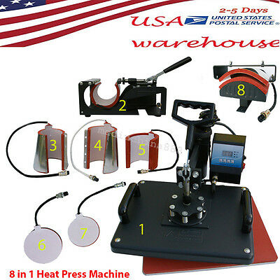 8 in1 Heat Press Machine Digital LCD T-Shirt Mug Plate Cap Transfer Sublimation
