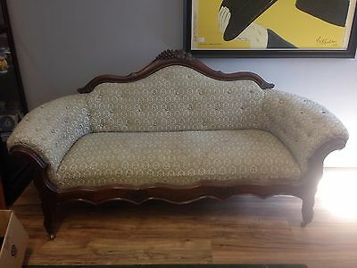Victorian Walnut Rose Carved Sofa with Button Upholstery