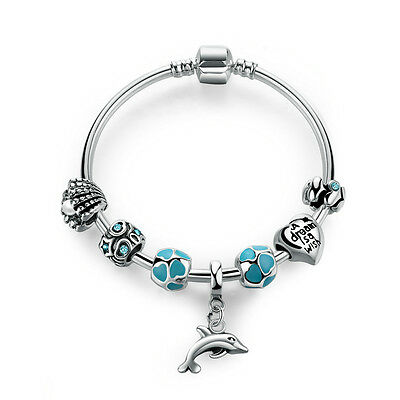 DIY European 925 Sterling Silver Plated Blue Enamel Charm Bangle with all Charms