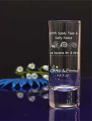96 Engraved Wedding Guest favor Shot Glasses/With sandy toes n salty kisses