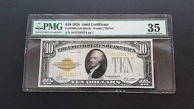 1928 $10 Gold Certificate Aa Block Pmg Choice Very Fine 35