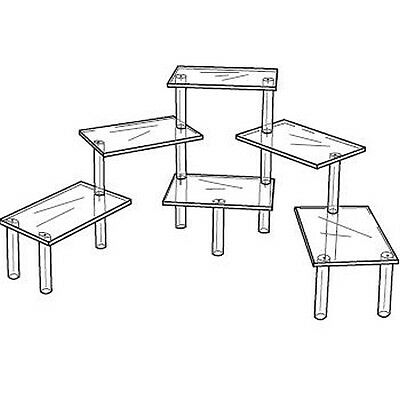 """Acrylic Tiered 6 Table Riser Figurine Display Stand Set 8 x 12"""" Shelves"""