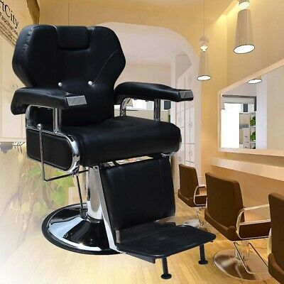 New Barber Chair Salon Hydraulic Lift Classic Reclining Hairdressing Shaving