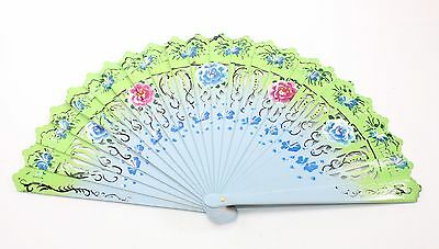 Blue Green Double Sided Wooden Spanish Floral Print Hand Folding Fan Party Gift
