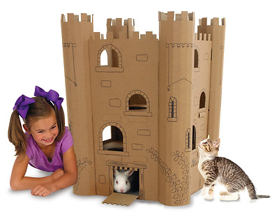 Smartbedz Cardboard Pet Cat Play Castle Small animals: Rabbit Guinea Pig Hamster