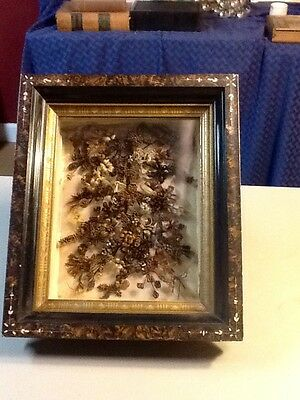 VICTORIAN Hair Bouquet Shadow Box, Victorian Hair Art, LARGE, EXCELLENT COND!!