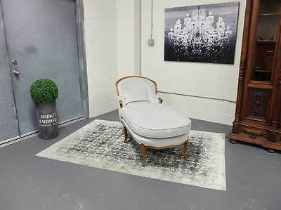 Vintage Chaise Lounge With Walnut Frame New Upholstery