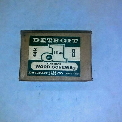 "Vintage ( Detroit Wood Screws Flat Head )  (#8 X 3/4"" )  New In Box"