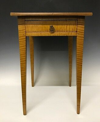 An Antique Tiger Maple Country Sheraton One Drawer Stand