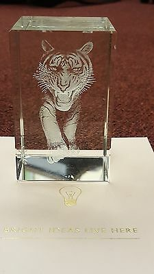 3D Etched Crystal Block Ornament Gift Paperweight with Tiger